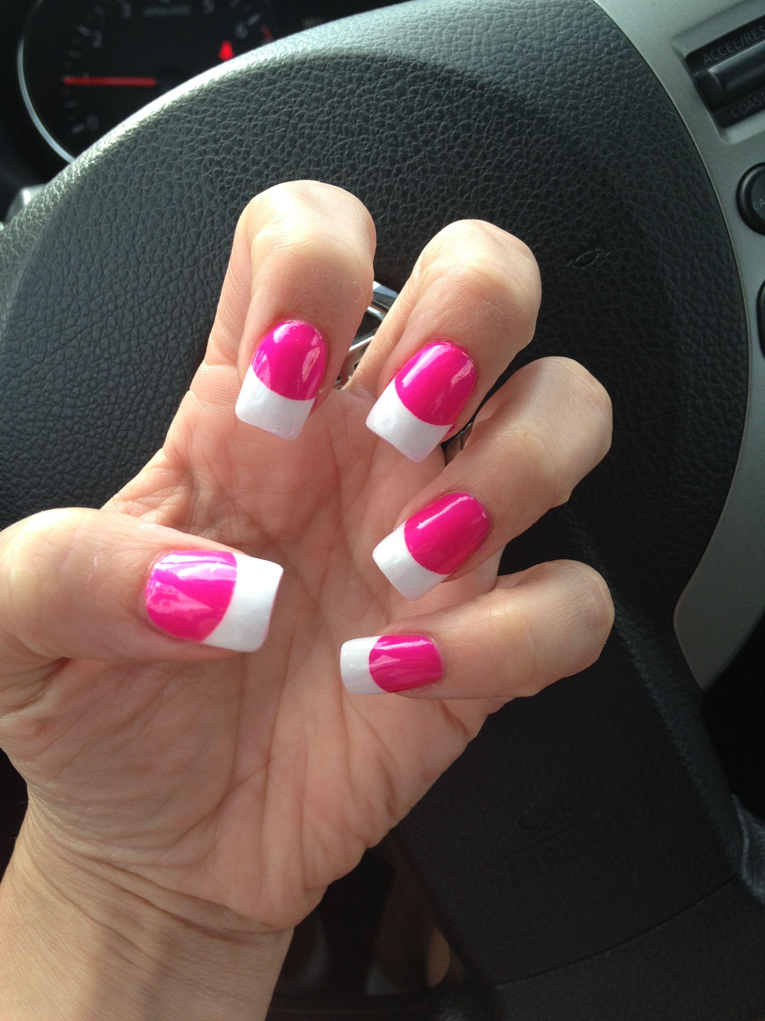 Nails! #chinaglaze #pinkfrench purple panic neon | Nails designs ...