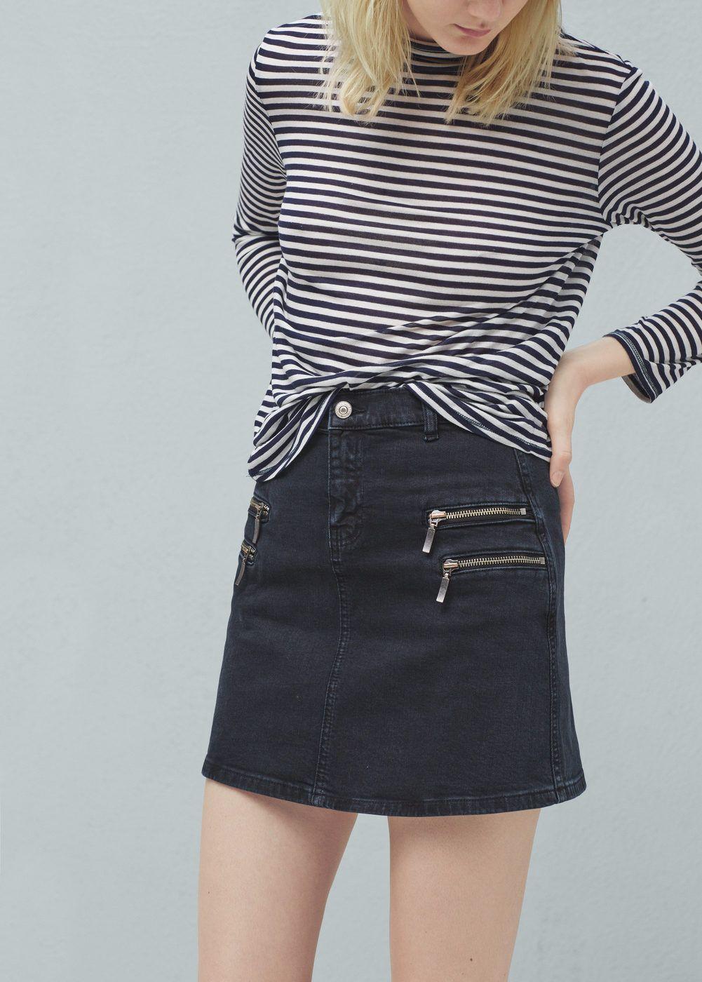 Usa Denim Zipped Skirts Women For Mango Skirt wwYqdRr