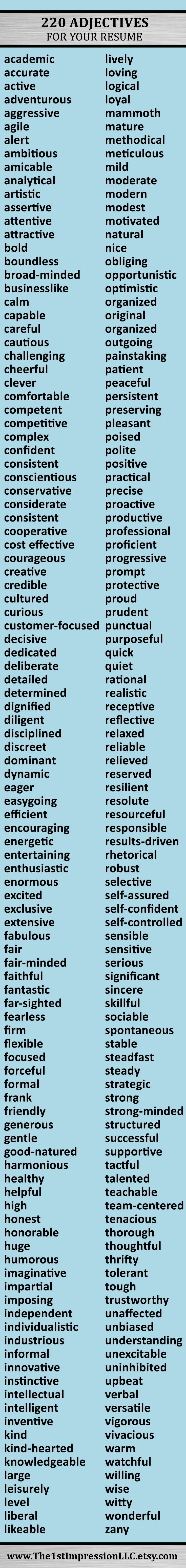 Huge list of 220 adjectives to help you write your resume! | Good to ...