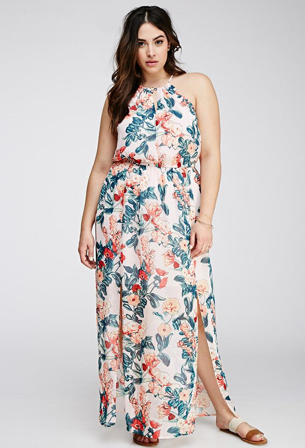 Plus Size Maxi Dress - Plus Size FOREVER 21+ Floral Chiffon Halter Dress