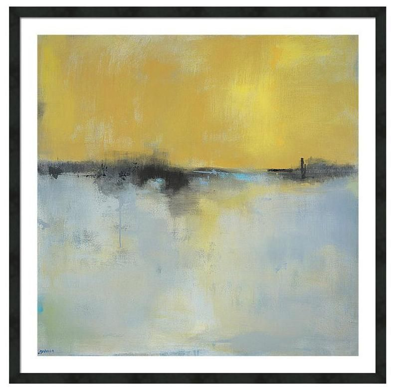 Large Framed Abstract Landscape Print On Paper Large Wall Art