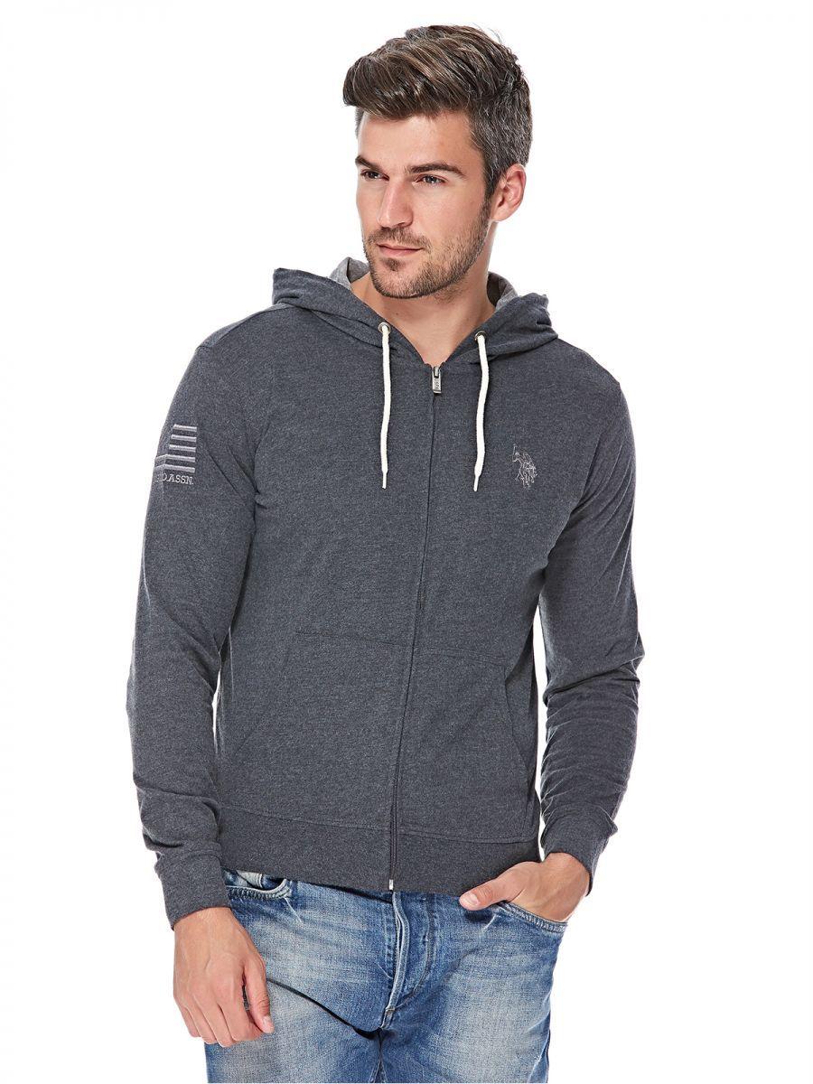 14512c8b8 Buy U.S. Polo Assn. Zip Up Hoodie for Men - Dark Grey - Jackets & Coats |  KSA | Souq