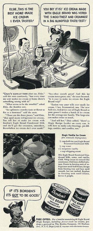 1941 Food Ad Borden S Eagle Brand Sweetened Condensed Milk With Magic Vanilla Ice Cream Recipe Vanilla Ice Cream Recipe Ice Cream Recipes Eagle Brand
