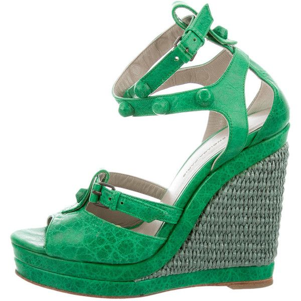 Pre-owned Balenciaga Studded Leather Sandals ($295) ❤ liked on Polyvore featuring shoes, sandals, green, wedges shoes, balenciaga shoes, ankle tie sandals, green wedge sandals and leather ankle strap sandals