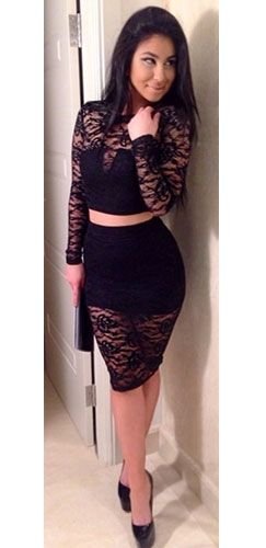 d3a27514038 Black Floral Lace Long Sleeve Crop Top Pencil Fitted Knee Length Midi Skirt  2 Piece Set
