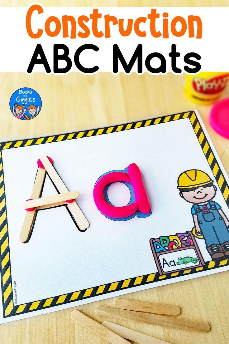 Construction Theme Alphabet Mats   TpT Language Arts Lessons ...