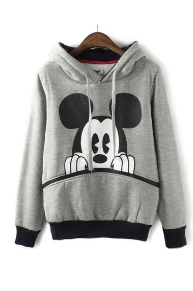 Classic Mickey Mouse Print Pullover with EARS on the hood