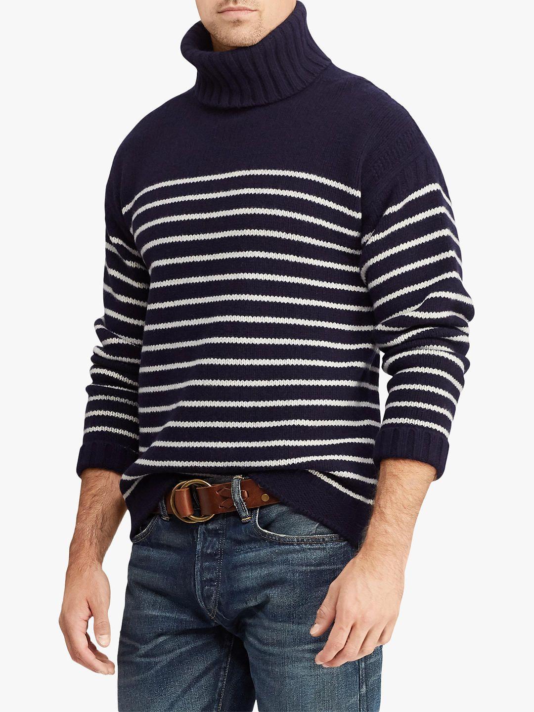 Polo Ralph Lauren Striped Roll Neck Jumper, Navy/Cream