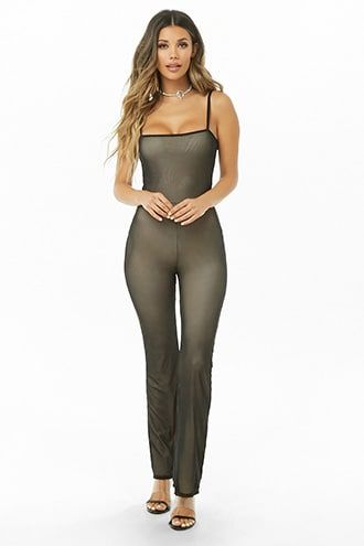 03499ab55c5 Sheer Mesh Flare Jumpsuit