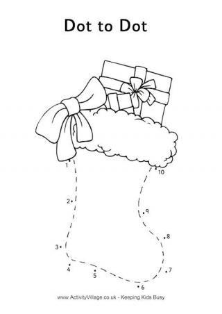 joulutehtvt lapsille Christmas Stocking Dot to Dot  Joulu