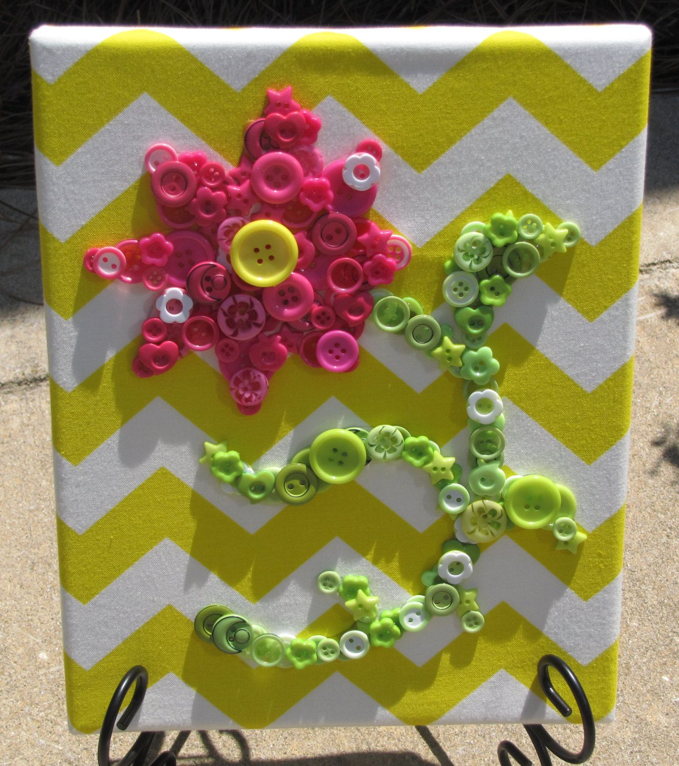 8x10 Pink Button Flower with Green Button Stem and Leaves Art ...