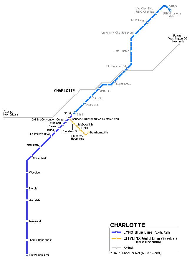 Charlotte Lynx Blue Line C Urbanrail Net Urban Transportation