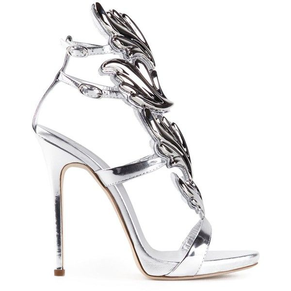 Giuseppe Zanotti Design Coline Sandals ($1,221) ❤ liked on Polyvore featuring shoes, sandals, heels, zapatos, metallic, winged sandals, cutout sandals, stilettos shoes, high heels stilettos and giuseppe zanotti shoes