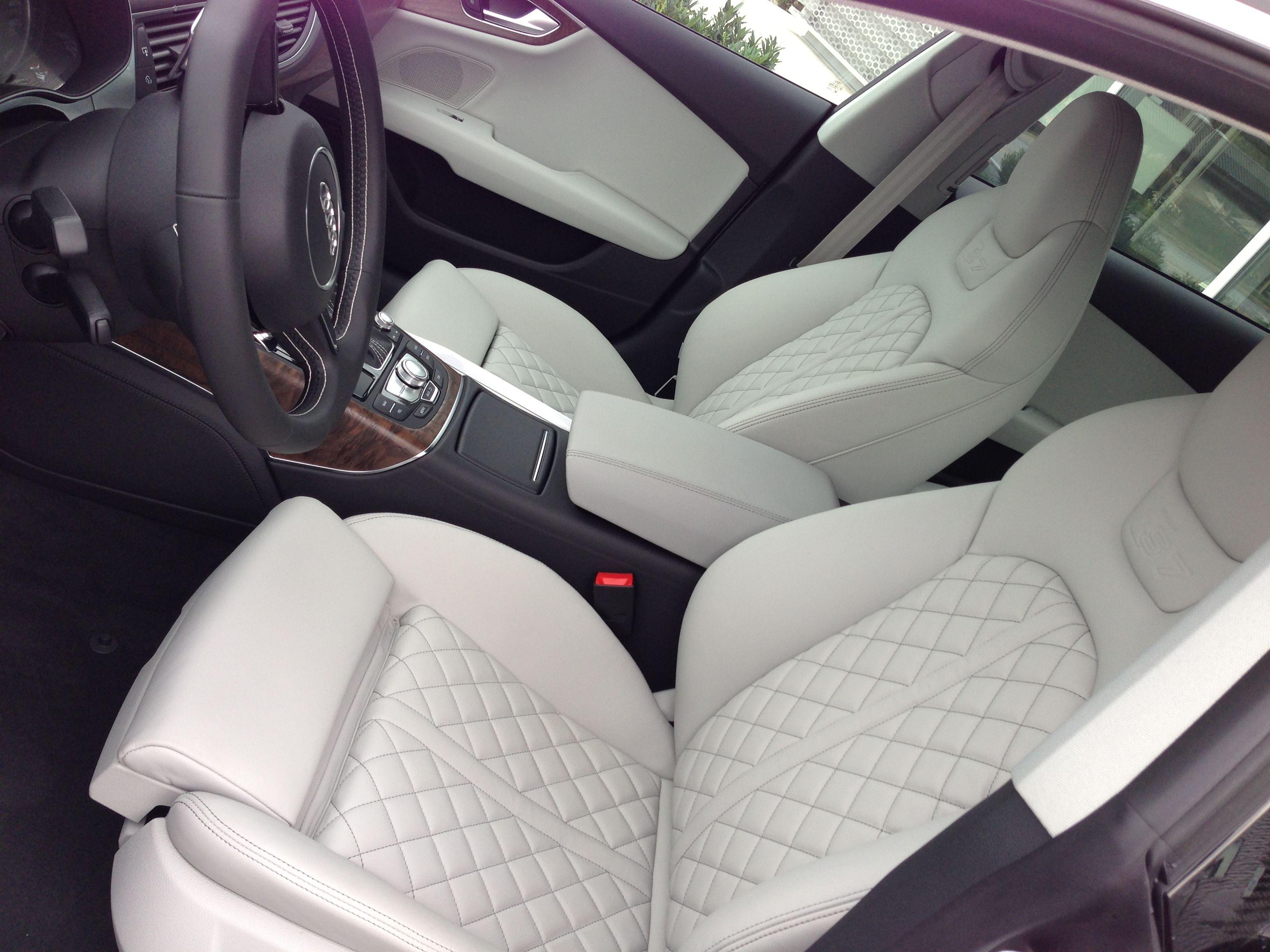 2013 Audi S7 Love The Interior W The White Diamond Stitch Leather Leather Car Seats Custom Car Seats Automotive Upholstery