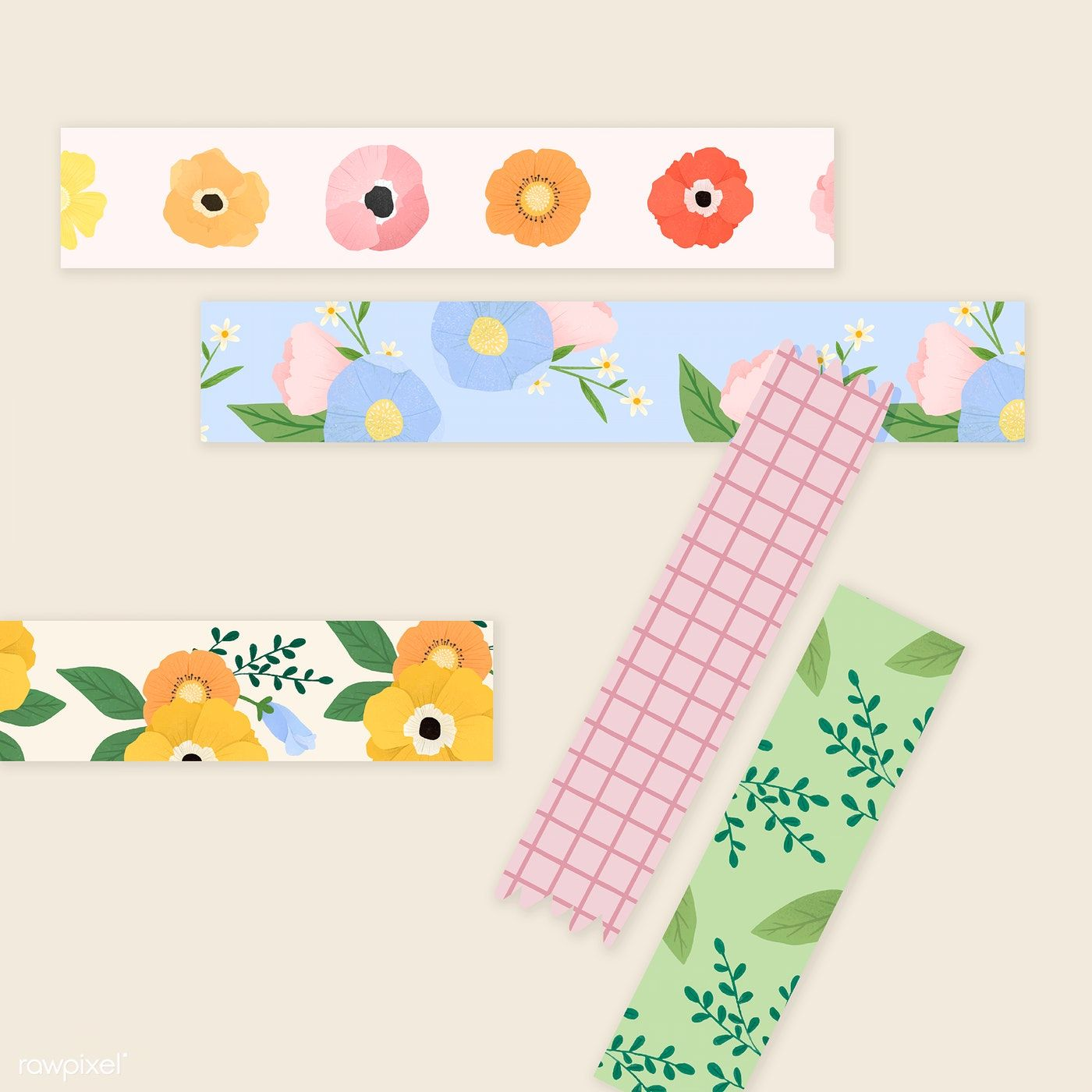 Stationery Cards Wrapping 7m Pretty Yellow Poppy Floral Paper 15mm Washi Tape