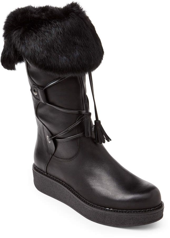 781fc789375 Elena Black Fur-Trimmed Lace-Up Leather Boots