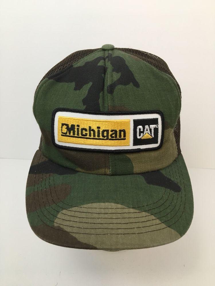 32cd446a741 Vintage USA Caterpillar Foam Trucker Hat Mesh Michigan Cat Camo Tonkin EUC   Tonkin