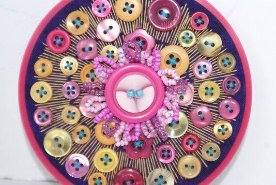 Embroidery Hoop Art Textile Vintage Button by BrandyCupcakesStudio
