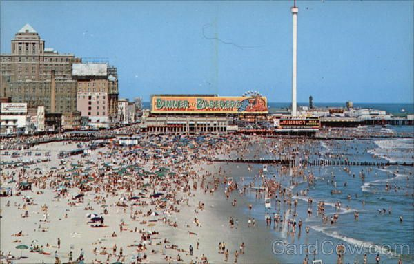 Bird S Eye View Of Bathing Beach Atlantic City Nj With Images Beach Town Birds Eye View Nj Beaches