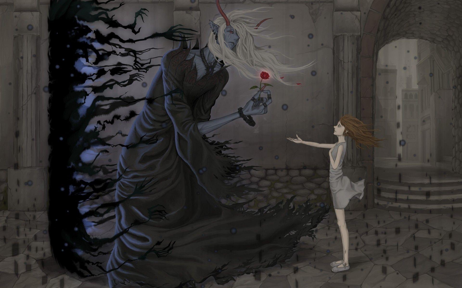 Half Demon Anime Girl original anime dark fantasy demon