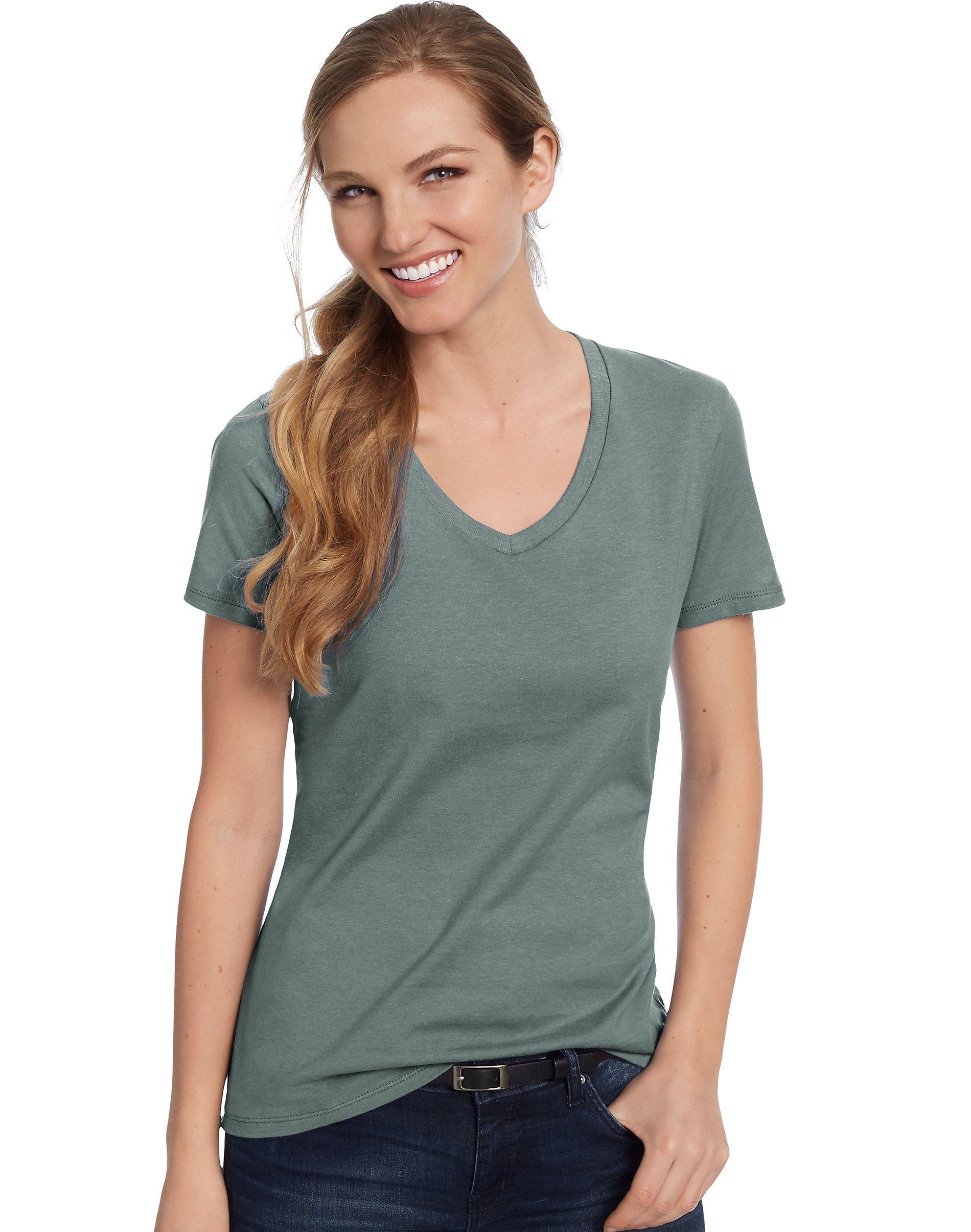 4dbec87c0015 Hanes Womens T-Shirt Short Sleeve Top Nano-T V-Neck Solid Plain 100 Cotton  SO4V#Short#Sleeve#Top