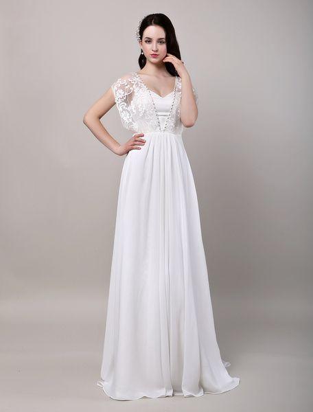 Robe de Mariée Bohème chiffon robe de mariée ivoire A-ligne boutons avec traîne