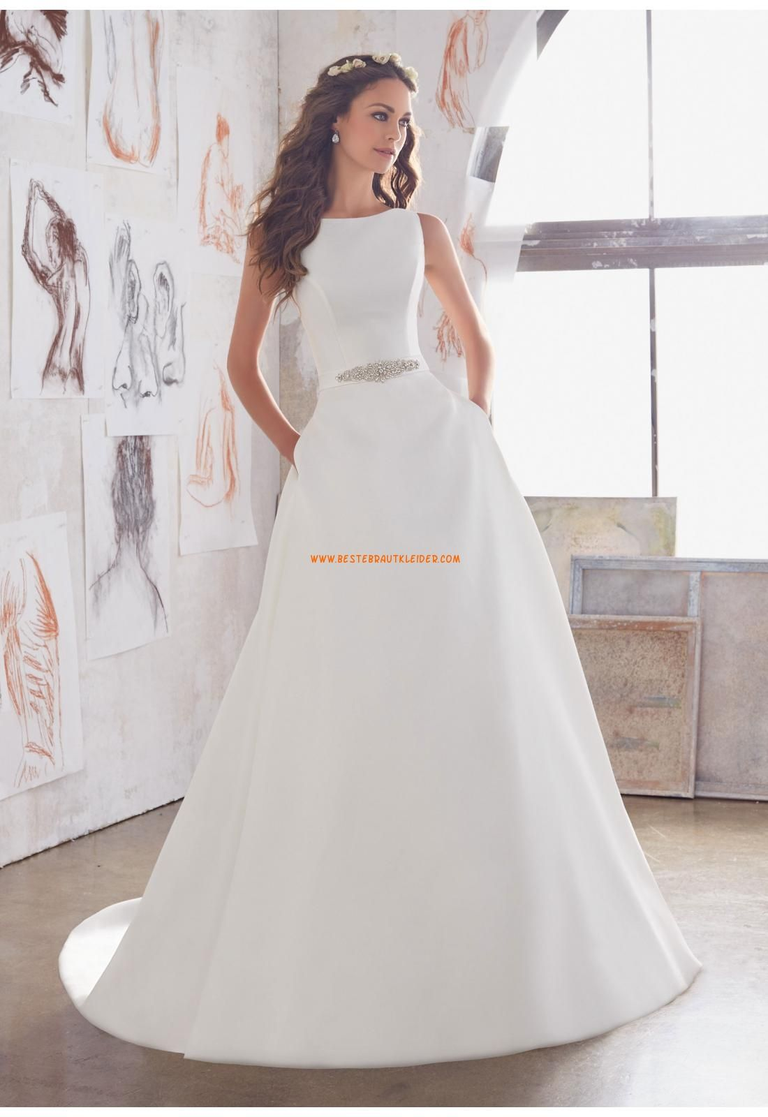 A-linie Trendige Moderne Brautkleider aus Satin mit Schleppe ...