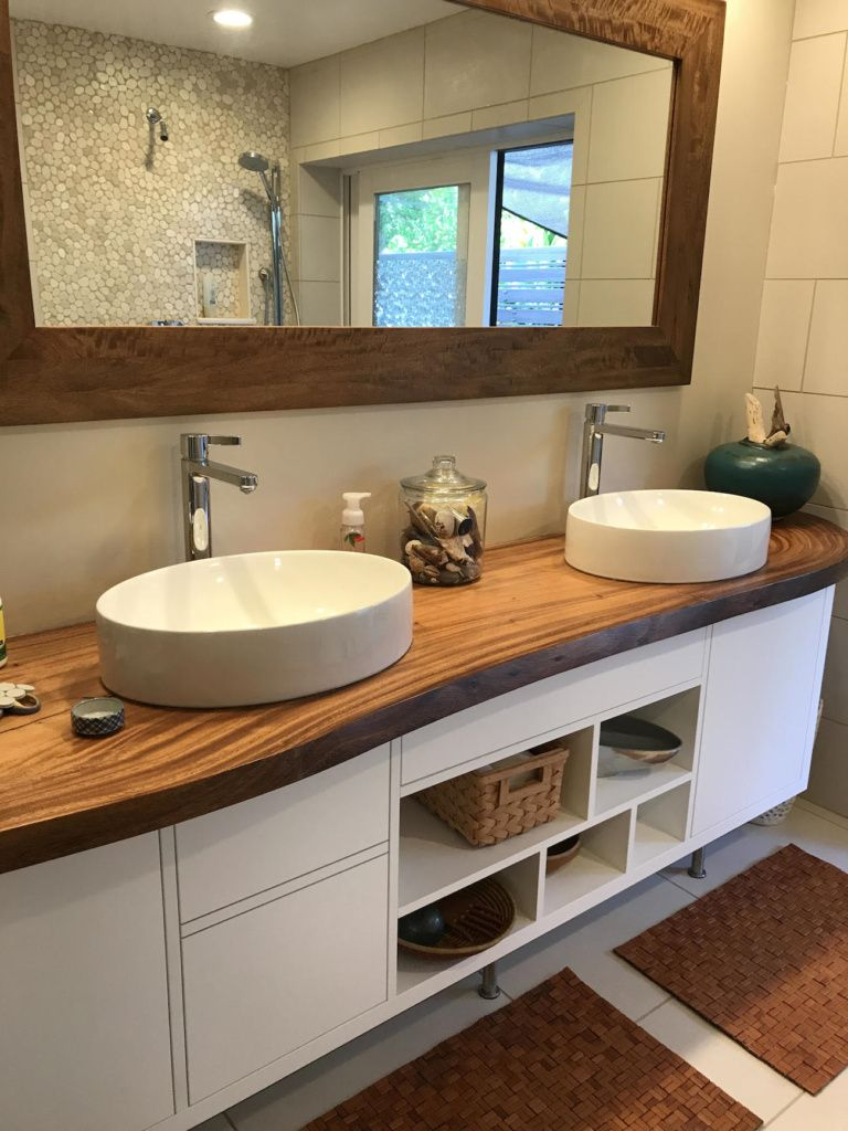 Live Edge Natural Monkeypod Slab Bathroom Counter With White
