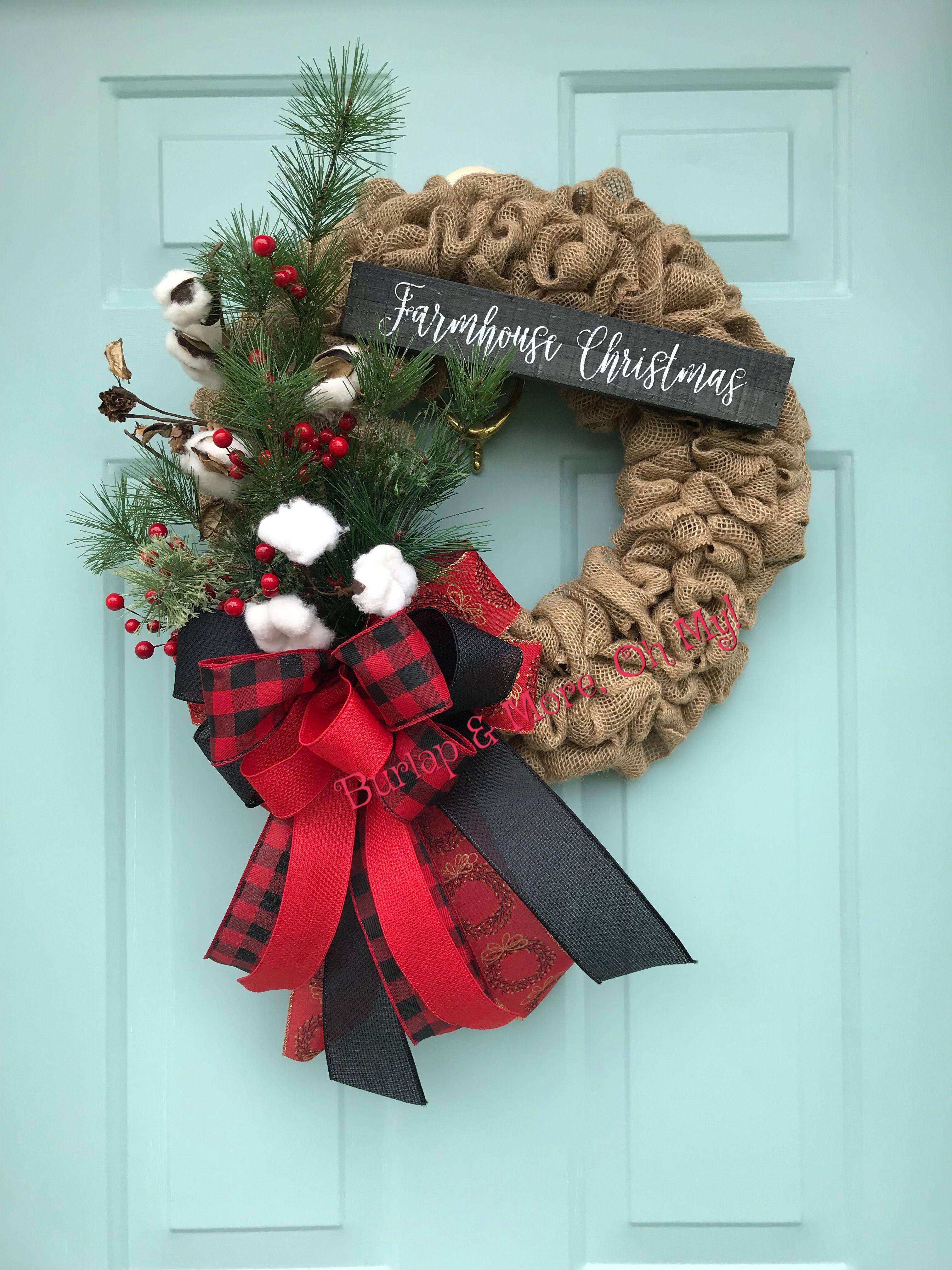 Farmhouse Christmas Wreath Burlap christmas wreath, Diy