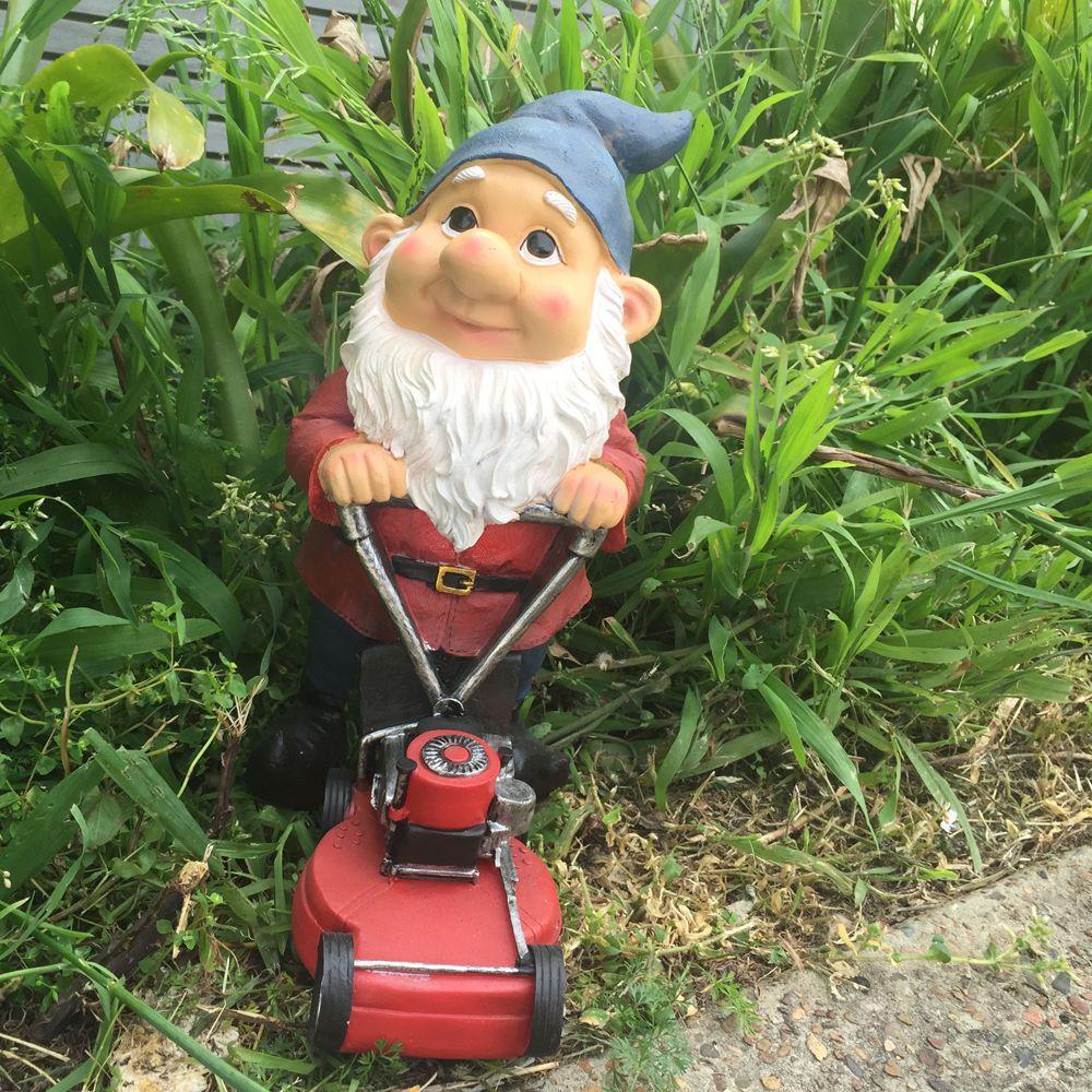 Lawn Mowing GNOME Statue - Garden Decor Figurine Ornament 30cm ...