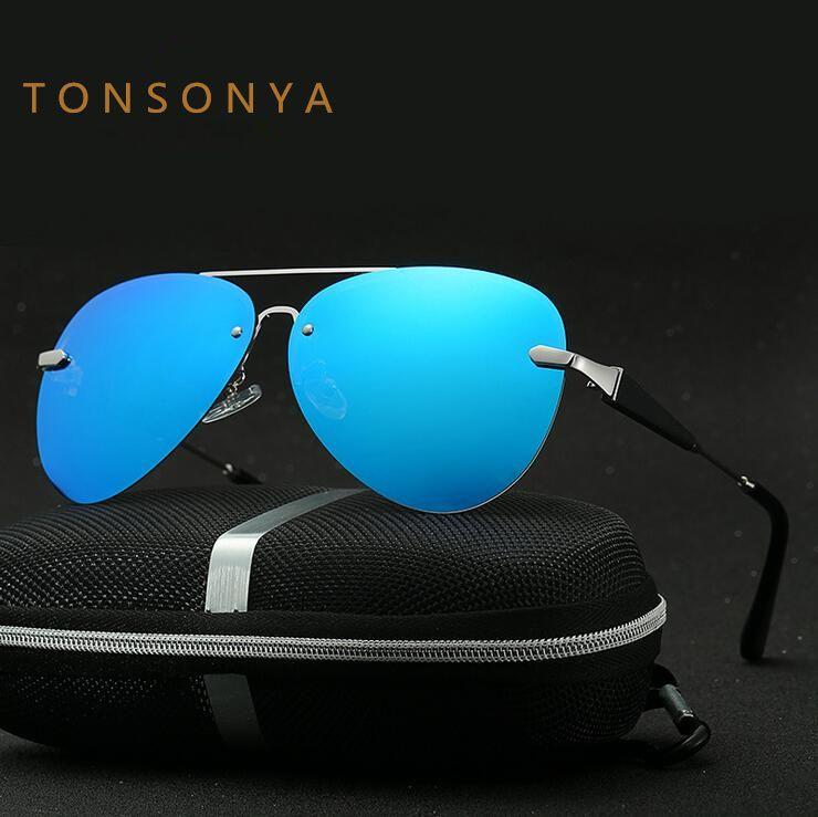 a6f00e66e1 Click to Buy    TONSONYA Brand UV400 Polarized Sunglasses Men Sport Mirror  Sun.