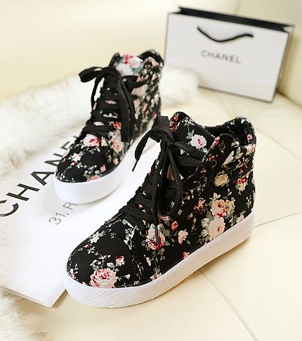2014 platform women's high-top shoes casual platform canvas shoes female height increased floral sneakers / free shipping