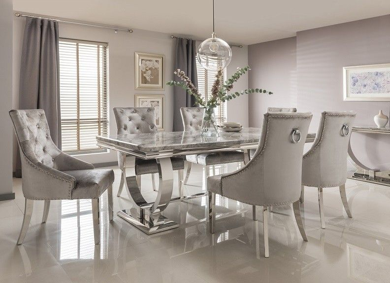 Arianna Grey Dining Tables Vida Living Dining Room Table Marble Grey Dining Tables Dining Table Marble