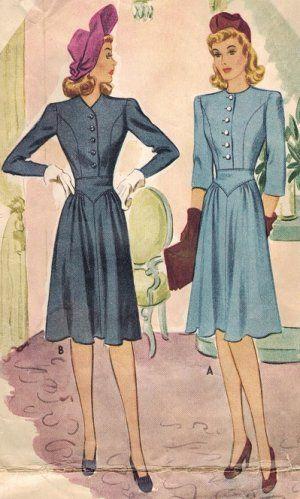 Mccall 4547 40s Lovely Yoke Waist Dress Vintage Sewing Pattern Vintage Sewing Patterns Vintage Dress Patterns Vintage Dresses