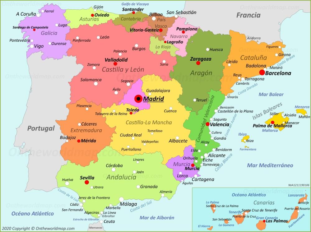 Www Mapa De Espana.Mapa De Espana Espana Mapas In 2020 Map Of Spain Geography Of Spain Spain