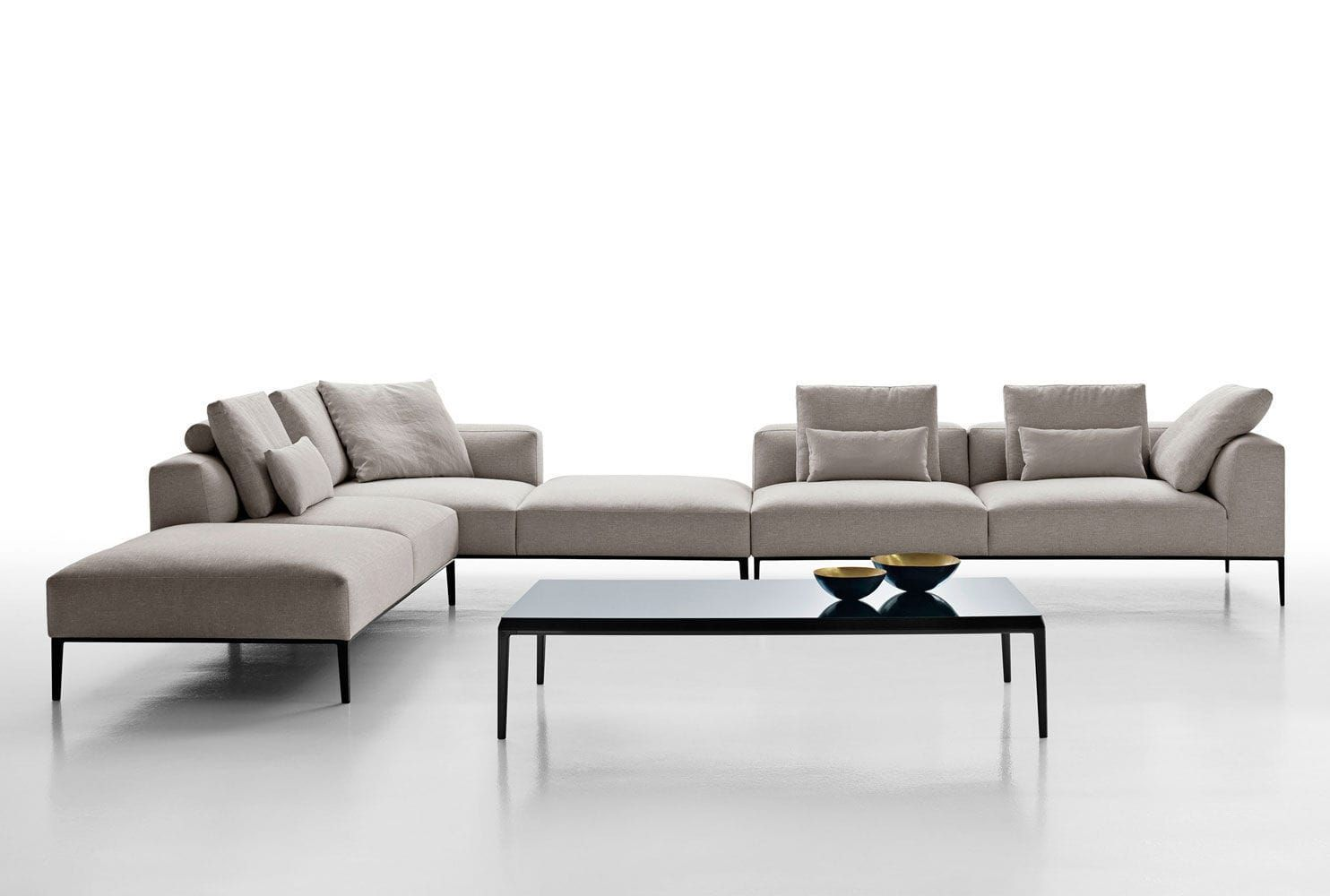 Modular sofa contemporary fabric leather michel effe for Sofa modular gris