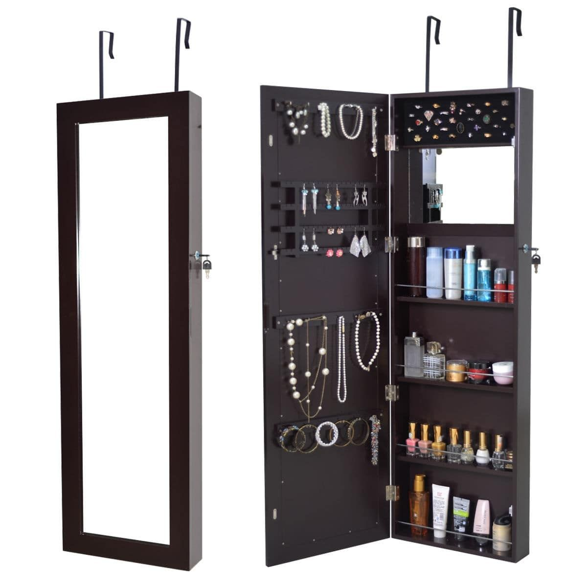Costway Lockable Wall Mount Mirrored Jewelry Cabinet Armoire