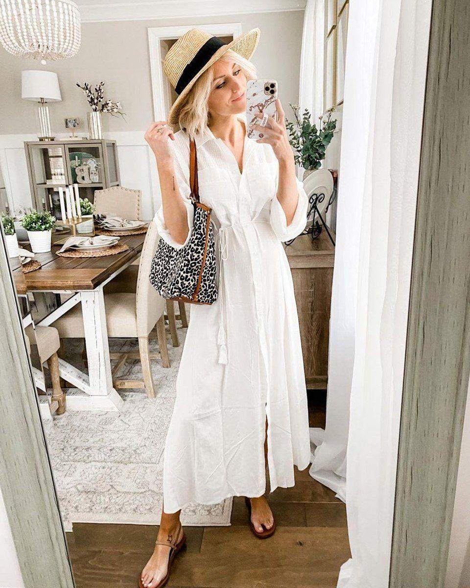 Ivezy Fashion Pure White V Neck Long Sleeve Slim Fit Shirt Dress