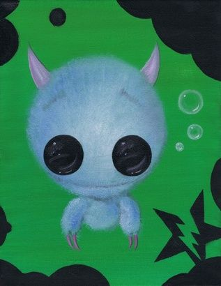 Sugar Fueled Monster Fuzzy Bubble Fluffy Lowbrow Creepy Cute Big Eye Art Print on the redditgifts Marketplace #redditgifts
