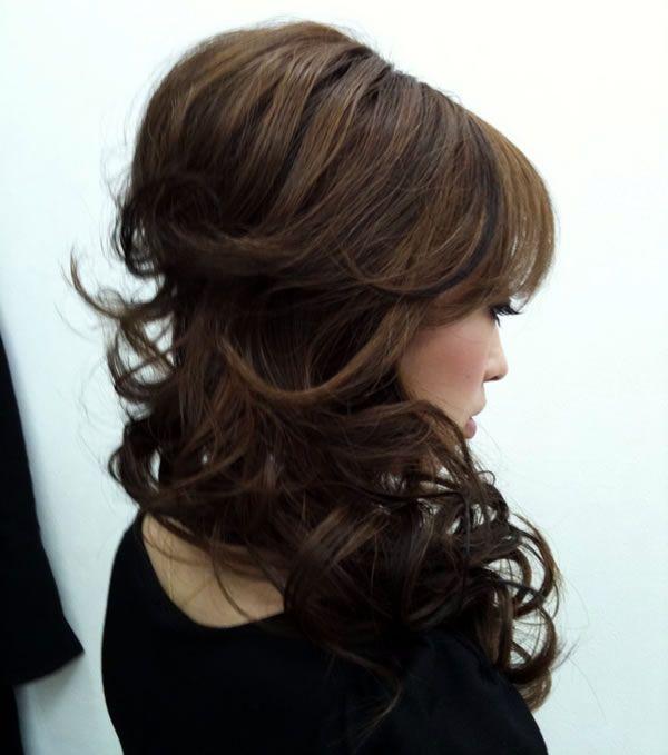 Curly half up, side-swept