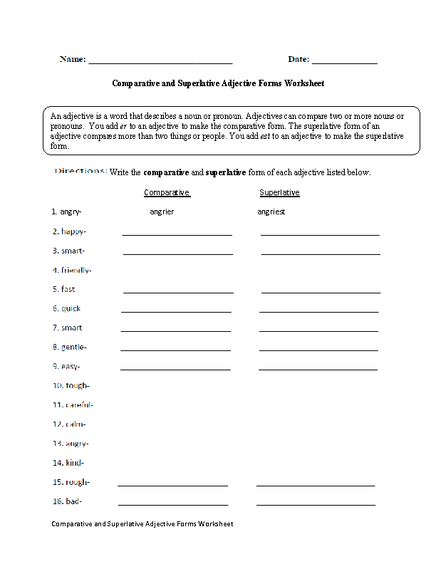Comparative And Superlative Adjective Forms Worksheet Englishlinx