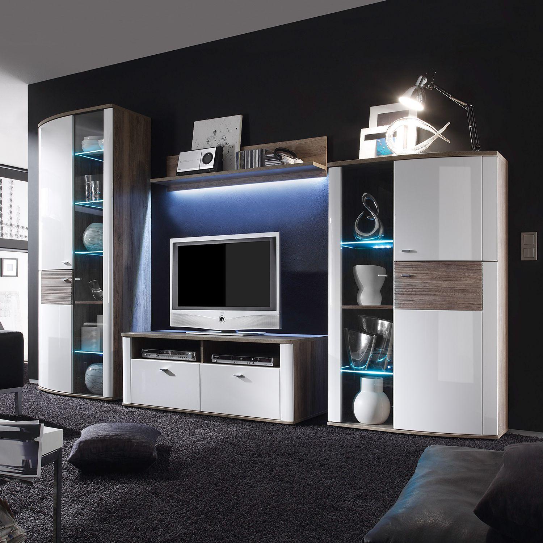 eek a+, wohnwand beethoven (4-teilig) - hochglanz weiß/eiche ... - Wohnzimmer Eiche Weis