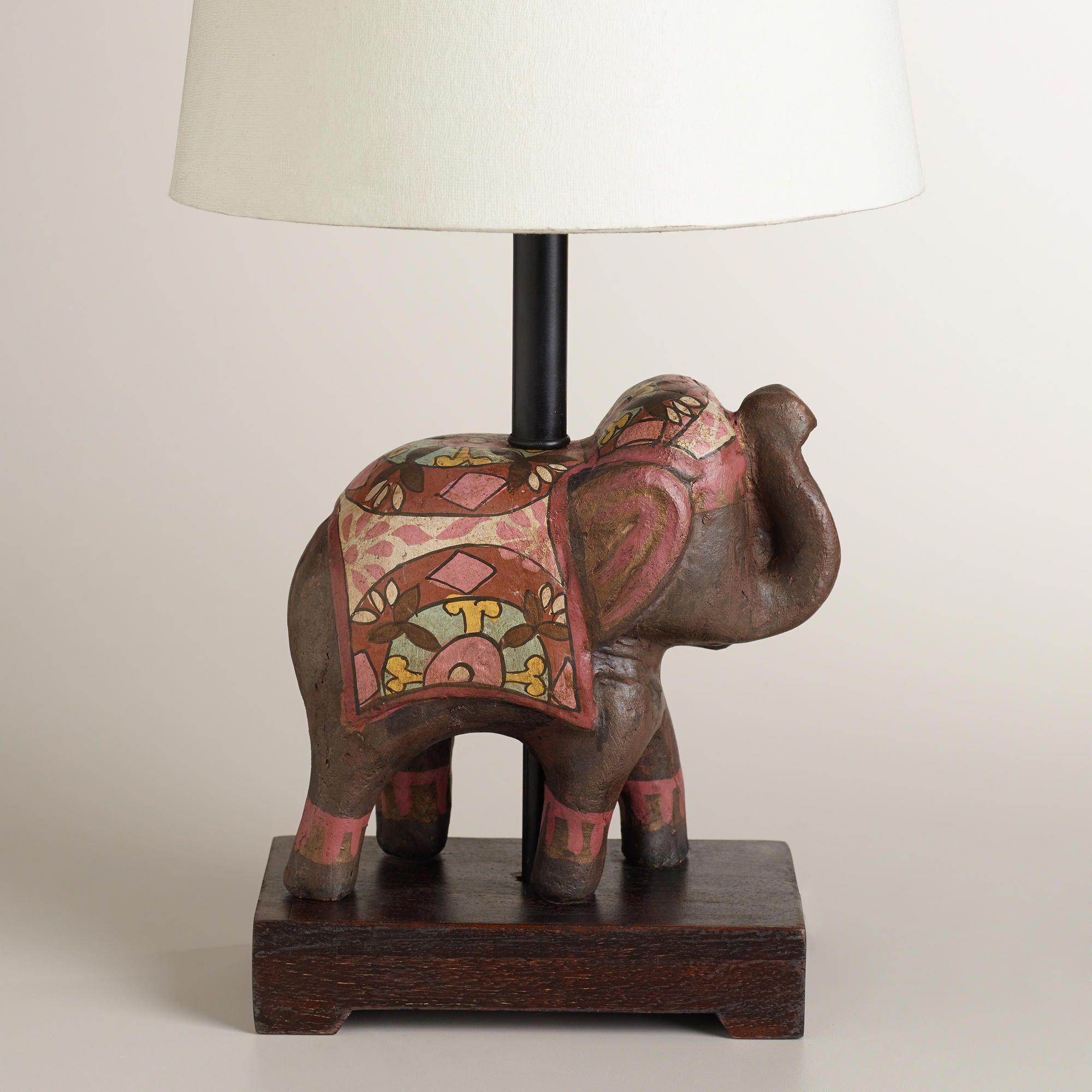 Elephant Lamp Base - Indian elephant accent lamp base