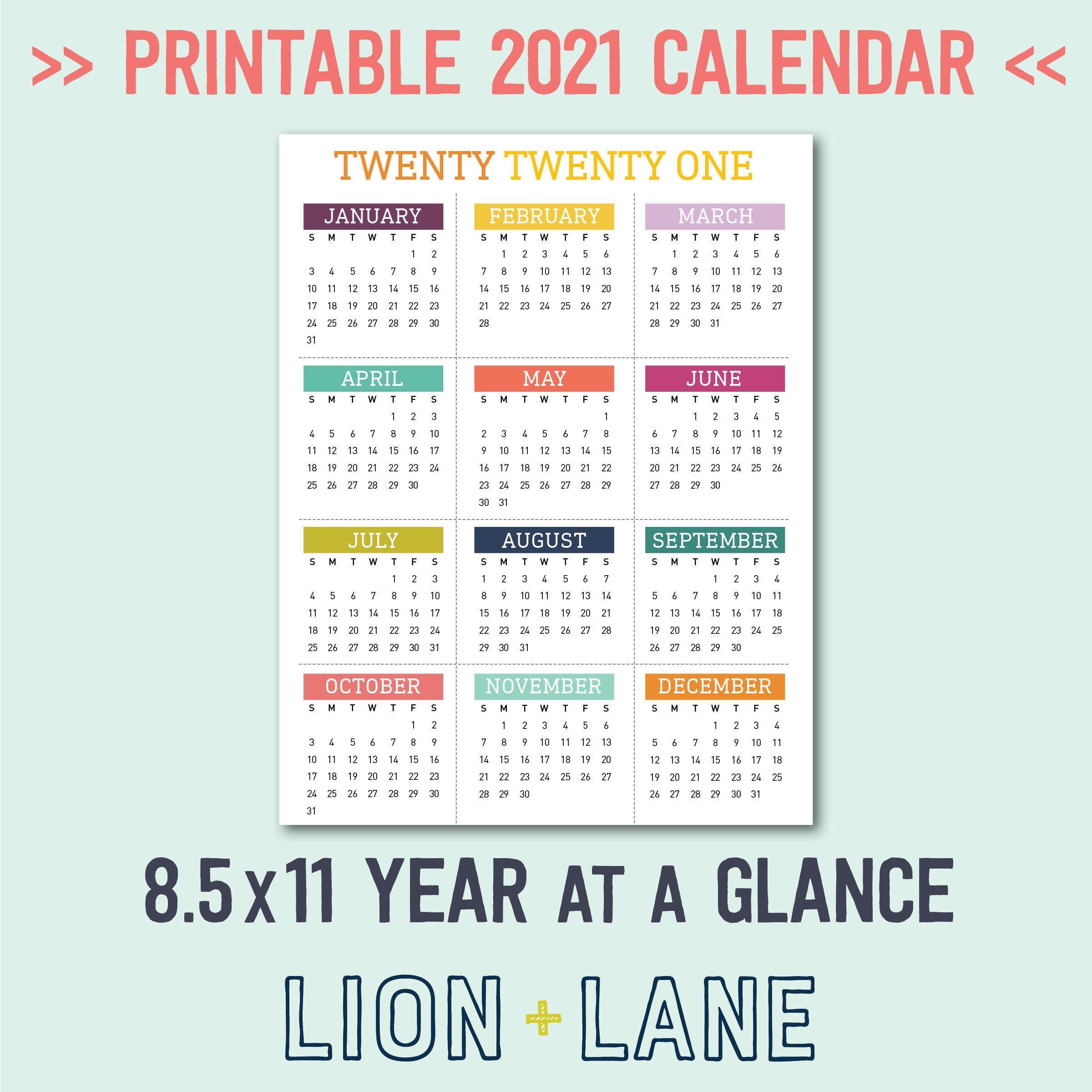 2021 Printable Calendar Year At A Glance 8 5x11 Letter Etsy In 2020 Printable Yearly Calendar Yearly Calendar Printable Calendar
