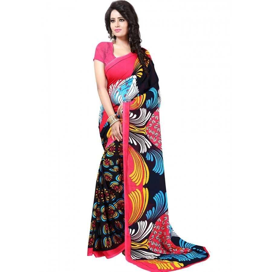 Pretty Black Color Premium Georgette Printed Saree at just Rs.499/- on www.vendorvilla.com. Cash on Delivery, Easy Returns, Lowest Price