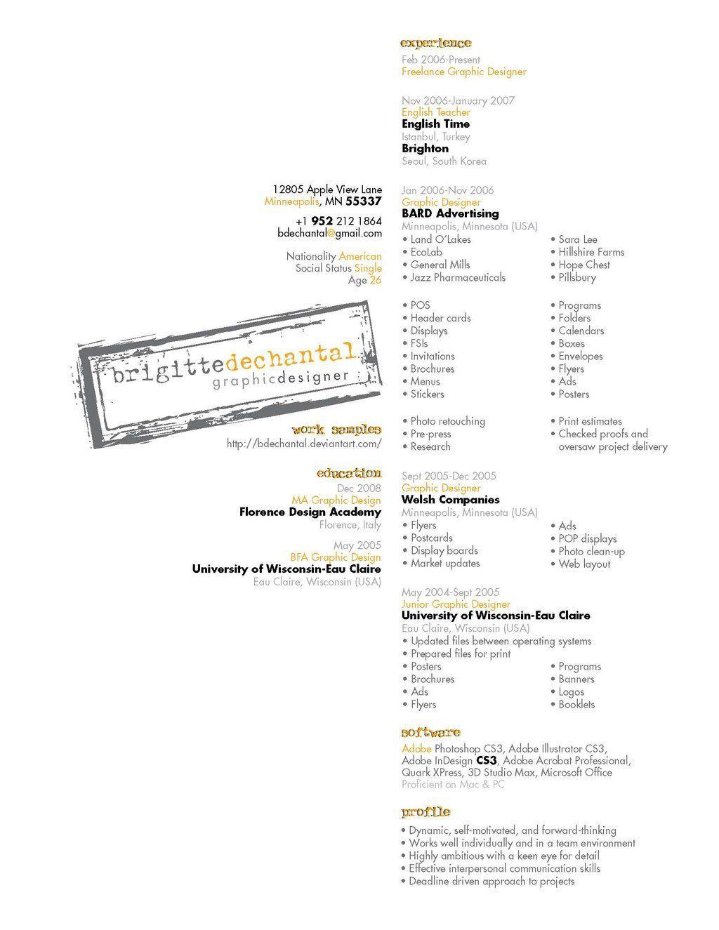 Resume by bdechantal   cv   Pinterest   Originales