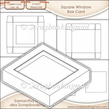 Window Box Card Square Window Template Commercial Use Ok 3 00 Instant Card Making Downloads Window Box Square Windows Card Box