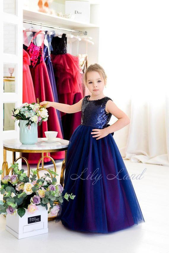 Pageant Flower Girl Dress Navy Blue And Dark Purple A Line Etsy In 2020 Flower Girl Dresses Blue Navy Blue Flower Girl Dresses Flower Girl Dresses Navy