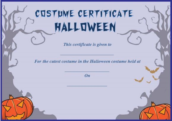 Cutest Halloween Costume Certificate Template Halloween Costume