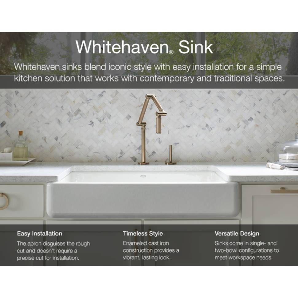 Whitehaven Self Trimming 32 1 2 L X 21 9 16 W X 9 5 8 Under Mount Single Bowl Sink With Short Apron Single Bowl Kitchen Sink Best Kitchen Sinks Kohler Farmhouse Sink